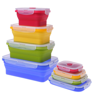 BPA Free Silicone Food Container Set Silicone Collapsible Lunch Box 2020
