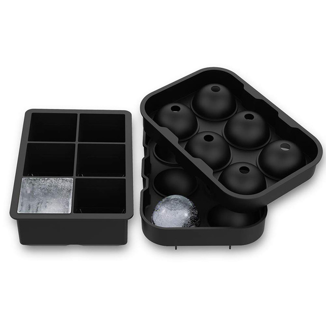 Wholesale 2 Pack Silicone 6 Cavities Ice Ball And Square Moulds Sphere Ice Cube Tray Mold