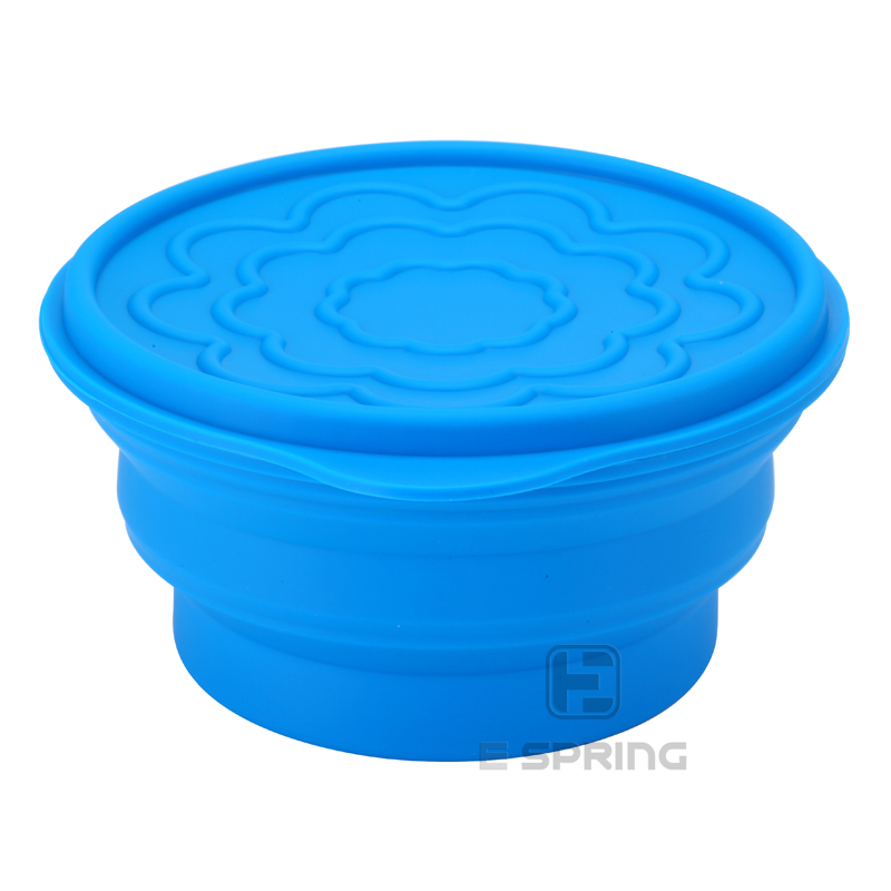 Portable Camping Foldable Bowl Collapsible Silicone Travel Bowl with Lids Silicone Food Container