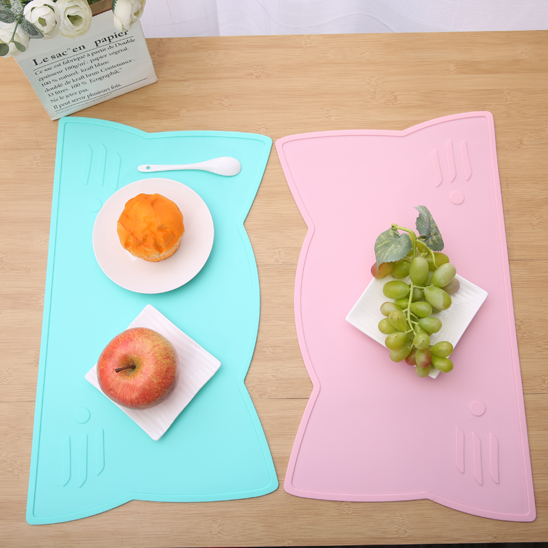 2020 Popular INS Silicon Portable Little Cat Silicone Placemats for Kids, Scrubbing Convenient Silicone Baby Mat