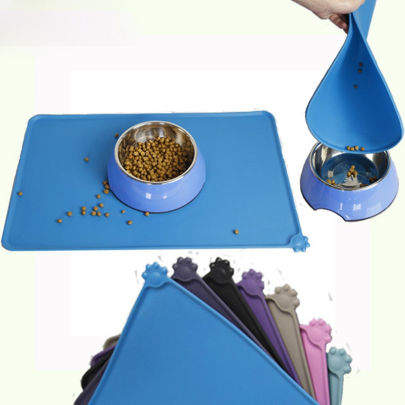 Silicone custom pet dog feeding mat paw print silicone placement for dogs cats